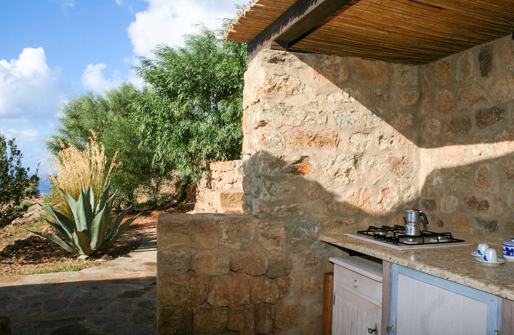 mare - the outdoor kitchenette with view